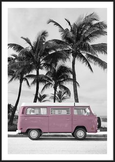 Art prints - Pink VW Bus Pink VW Bus, made by Insplendor.Pink VW Bus, made by Insplendor. Canvas Artwork, Artwork Prints, Fine Art Prints, Photo Wall Collage, Picture Wall, Images Murales, Foto Poster, Vw Bus, Volkswagen