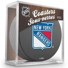 NHL 4 Pack Puck Coaster Set - New York Rangers