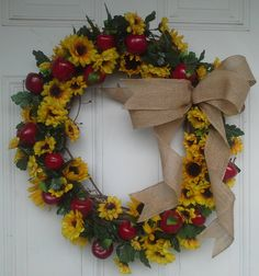Sunflower And Apple Wreath by NanewsCreations on Etsy. Sold