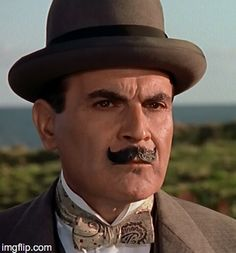 The incomparable David Suchet as Agatha Christie's Belgium detective Hercule Poirot. The one-hour mysteries are very good, but we prefer the episodes. Agatha Christie's Marple, Agatha Christie's Poirot, Hercule Poirot, Best Mysteries, Cozy Mysteries, Classic Movie Stars, Classic Films, Death In The Clouds, Evil Under The Sun