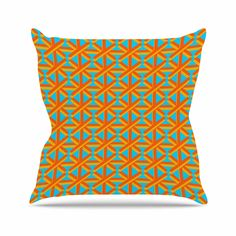 "The perfect pillow for summer! Trebam ""Topao"" Teal Orange Outdoor Throw Pillow from KESS InHouse 