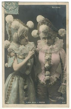 Vintage tinted postcard of Lina Gill & Remo - vintage clown costumes