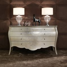 Italian High End Silver Leaf Chest of Drawers