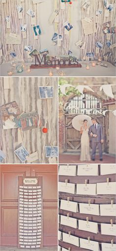 (me gusta esto para ponerlo detrás del bizcocho, así no se ve el escenario) Love the fabric backdrop with pics...Vintage Wedding