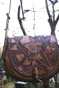 elaborately carved leather boho style bag with wrens and ivy leaves - skyravenwolf.com