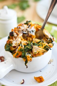 Chicken Butternut Squash Hazelnut Mash: Pieces of shredded chicken in a mash of roasted butternut squash and wilted spinach with a hint of coconut milk and toasted hazelnuts. (from The Healthy Foodie)