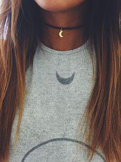 Gold Crescent Choker