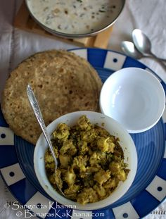 banaras ka khana: pyaz ka raita aur arbi ki sookhi subzi | onion yogurt raita and colocasia curry with coriander greens