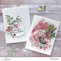 Watercolor Cards, Watercolor Paintings, Watercolour, Altenew Cards, Pen Sketch, Painted Leaves, Marianne Design, Ink Pads, Sympathy Cards