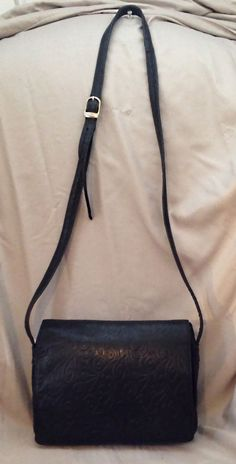 Small Black Tooled Leather Organizer Messenger & Cross-body Bag - Made in…
