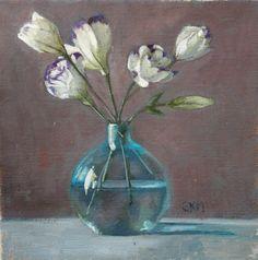 white flowers, antique turquoise bottle, still life, original painting, oil painting, home decor