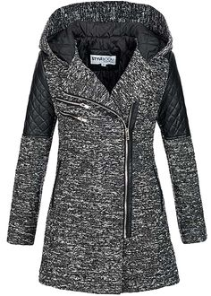 Styleboom Fashion Damen Mantel mit Kunstlederdetails Kapuze 2 Taschen dunkel grau melange:    Maße (können geringfügig abweichen):           .....