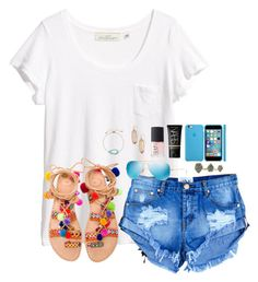 #summer #outfits / White Tee + Denim Ripped Shorts
