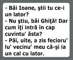 """Bancul zilei este despre Ion care il intreaba pe Gheorghe daca stie cumva ce este un """"lator"""" ."""
