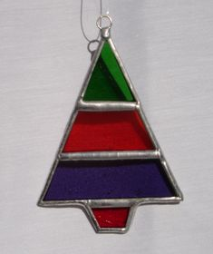 Stained Glass striped Christmas Tree