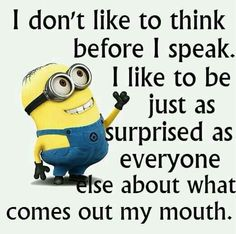 I'm so talented.Here are the best funny minion quotes ever! Everyone loves minions and these hilarious minion quotes will put a smile on your face! Funny Minion Memes, Minions Quotes, Funny Jokes, Funny Texts, Minion Humor, Funny Sayings, Hilarious Quotes, Disney Sayings, Humor Texts