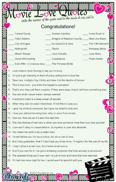 Personalized Movie Love Quotes Game - perfect for a bridal shower! Anniversary Games, 50th Wedding Anniversary, Anniversary Parties, Wedding Shower Games, Wedding Games, Wedding Ideas, Bridal Games, Wedding Parties, Wedding Planning