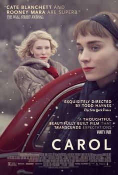 Nos anos 1950, Carol (Cate Blanchett) é casada com Harge Aird (Kyle Chandler), no entanto ela busca a felicidade nos braços de outras mulheres. Quando conhece a vendedora Therese Belivet (Rooney Mara), vive um intenso romance. Adaptação da obra de Patricia Highsmith, The Price of Salt, publicado em 1953.  Assisti no Roxy, Santos, em 27/01 - muito bom.
