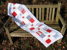 Handmade Patchwork and appliqued Table Runner in Jubilee Red, White and Blue.  £30.00