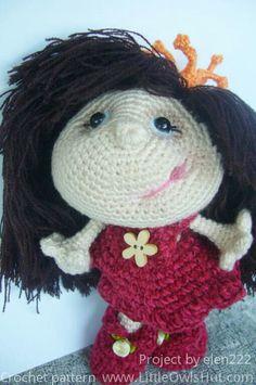 Project by elen222 Doll Princess Amigurumi toy created using LittleOwlsHut crochet pattern www.ravelry.com/... #Amigurumi, #Pertseva, #LittleOwlsHut, #Princess, #Doll, #toy, #CrochetPattern