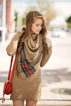 DRESS - turtle neck sweater dress (available in 4 colors!) | SCARF - camel plaid blanket scarf  (just $25!) | BOOTS - suede heeled boots | BAG - chloé mini marcie cross body | Fall Outfit | Fall Style Ideas | Fall Outfit Ideas | Fashion for Fall | Style for Fall || A Lonestar State of Southern