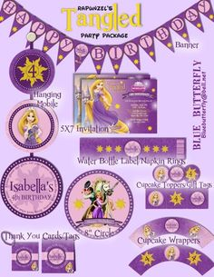 Disney Princess Rapunzel Tangled Party Package with Invitation - Printable and Customized with your party details.  Easy as 1...2...3!