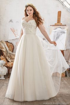 morilee julietta spring 2017 bridal strapless sweetheart neckline heavily embellished bodice romantic princess plus size a  line wedding dress chapel train (3213) mv  #bridal #wedding #weddingdress #weddinggown #bridalgown #dreamgown #dreamdress #engaged #inspiration #bridalinspiration #weddinginspiration #weddingdresses