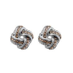 Peach Gemstone Ribbon Motif Statement Earrings