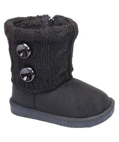 Black Cable-Knit Double Button Boot
