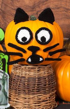 Halloween cat pumpkin could make with felt and pipe cleaners!
