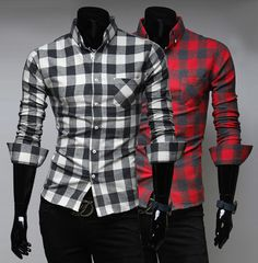 Men's Button Down Checkered Shirt