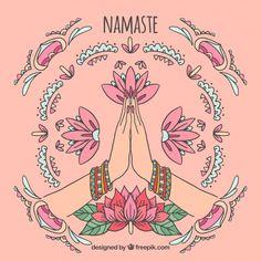Namaste greeting background with ornamen. Yoga Meditation, Yoga Drawing, Yoga Studio Design, Yoga Illustration, Partner Yoga, Yoga Art, Chakras, Illustrations, Yoga Inspiration