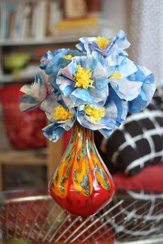 Watercolor coffee filter flowers