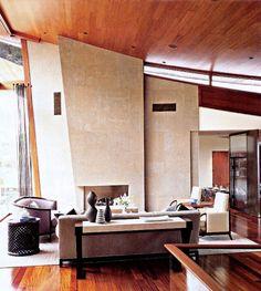 Contemporary fireplace design + architecture in house in Tuscon, Arizona by Eva Robinson