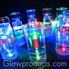 Glowing Shooter Glasses on an LED Serving Tray! - https://glowproducts.com/us/barglowproducts