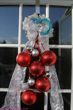 Pretty door decoration for the holidays. Make it yourself for under $25.