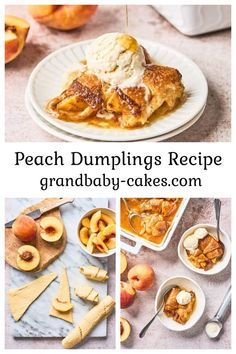 These Easy Peach Dumplings wrap tender peaches with flakey and crispy pastry dough then they are topped with a luscious spiced brown sugar whiskey butter sauce! Best Dessert Recipes, Fun Desserts, Easy Dinner Recipes, Sweet Recipes, Delicious Desserts, Yummy Food, Yummy Recipes, Peach Dumplings, Dumpling Recipe