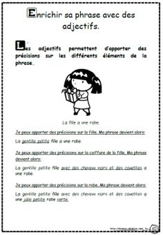 Trouver des adjectifs et enrichir sa phrase - Dix mois Adjectives Activities, Math Worksheets, Writing Activities, Classroom Activities, Language Study, French Language, French Grammar, Teaching Schools, French Classroom