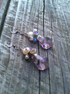 Lavender swarovski crystal earrings by Tootsiejos on Etsy, $18.00