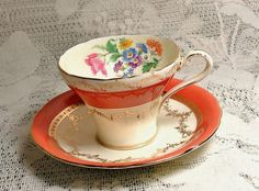 Aynsley Burnt Orange Corset Cup and Saucer