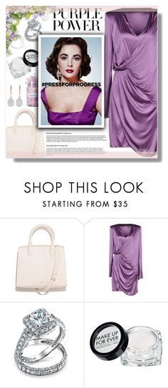 """Big Girls Need Big Diamonds"" by daizydarling ❤ liked on Polyvore featuring Versace, Bling Jewelry, MAKE UP FOR EVER, Elizabeth Taylor, Monica Vinader, purplepower, internationalwomensday and pressforprogress"