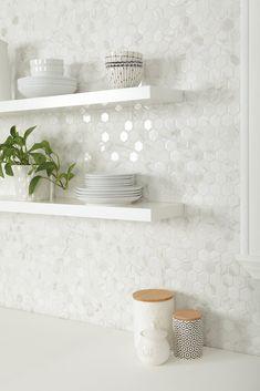 Kitchen Redo, Home Decor Kitchen, Kitchen Interior, Home Kitchens, Condo Kitchen Remodel, Backsplash For White Cabinets, Backsplash Ideas For Kitchen, White Tile Backsplash Kitchen, Contemporary Kitchen Backsplash