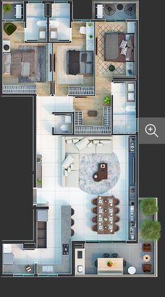 Simple Floor Plans, Small House Floor Plans, Modern Small House Design, Modern Exterior House Designs, 30x40 House Plans, Bedroom House Plans, House Layout Plans, House Layouts, House Floor Design