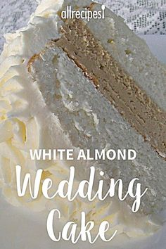 White Almond Wedding Cake A secret ingredient of sour cream makes this cake so moist, dense, and delicious! I use this recipe for my kids' birthdays, but it's a favorite for wedding cakes, too! This recipe can easily be doubled. Almond Wedding Cakes, Wedding Cake Flavors, Wedding Cakes With Cupcakes, Cupcake Wedding, Best Almond Wedding Cake Recipe, Cake Mix Wedding Cake Recipe, Dense White Cake Recipe, Almond Buttercream Frosting Recipe, Almond Cake Recipes