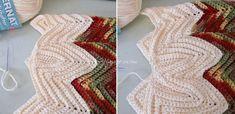 Bellissimi federi a zig zag! Zig Zag Crochet, Crochet Crocodile Stitch, Crochet Ripple, Crochet Stars, Crochet Mandala, Crochet Flowers, Purse Patterns Free, Crochet Purse Patterns, Crochet Purses