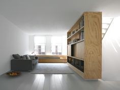 Wooden shelves as space separation. Home 01 by Dutch office i29. by audrey