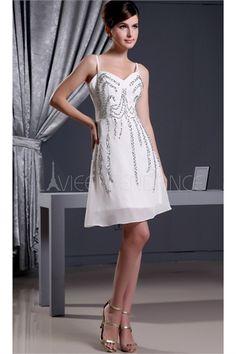 Robe de cocktail ivoire mini pas cher en chiffon décoration perlée 2015