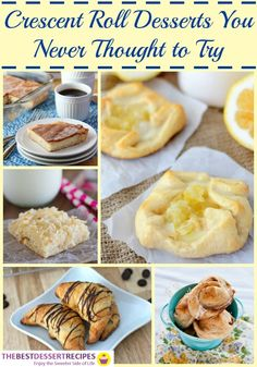 Bet you never thought to try these crescent roll desserts. Bust out your Pillsbury crescent rolls and get to work on these easy dessert recipes! Cresent Rolls, Crescent Roll Dough, Crescent Ring, Recipes Using Crescent Rolls, Crescent Roll Recipes, Pillsbury Biscuit Recipes, Easy Desserts, Dessert Recipes, Rolls Recipe