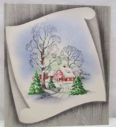 Vintage Christmas Greeting Card Snow Covered Red Cottage Winding Road  USA  Used | eBay