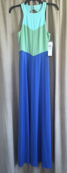 NWD London Times Womens Blue Aqua Green Colorblock Sleeveless Long Maxi Dress 8 | eBay